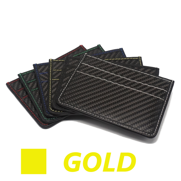 Carbon Fiber Slim Wallet - GOLD stitching