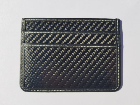 Carbon Fiber Slim Wallet - WHITE stitching