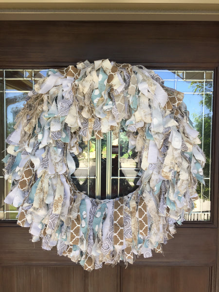 Door Decor: Farmhouse Rag Wreath