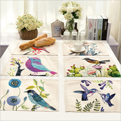 Placemats: Ranch Style-Hand Painted Birds Placemats