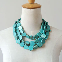 Jewelry: Ranch Style-Three Strands Turquoise Necklace