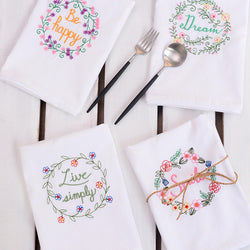 Napkins: Cottage-Traditional Embroidered Napkins/Dish Towels