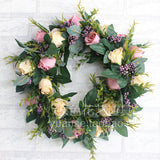 Door Decor-Cottage-Summer Rose Garden Wreath