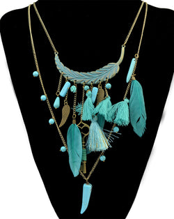 Jewelry: Ranch Style-Boho Turquoise Beaded Necklace