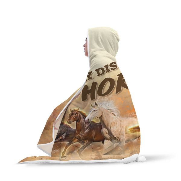Easily Distracted by Horses Hooded Blanket