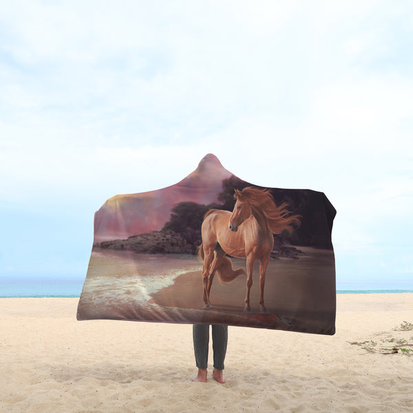 Horse on the Beach Hooded Blanket