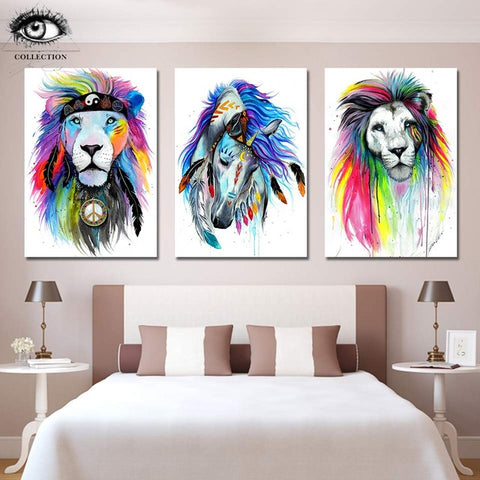 Horse and Lion Canvases by Pixie Cold Art