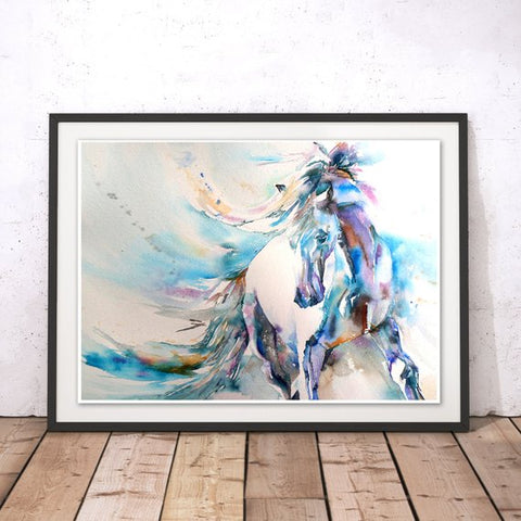 Blue Horse Watercolors by Liz Chaderton Wall Hanging