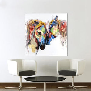 Horse Love II Abstract Printed Canvas