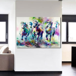 Running Horses Abstract Printed Canvas