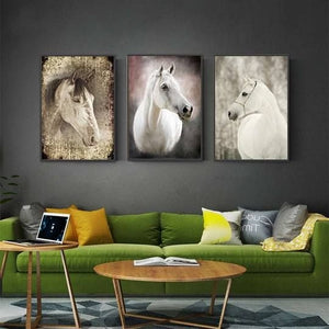 White Horse Retro Painting Printed Canvas