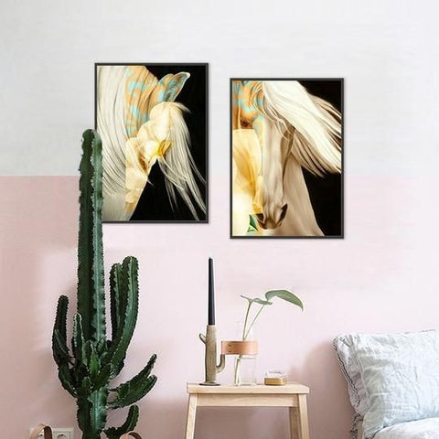 Abstract White Horse Printed Canvas