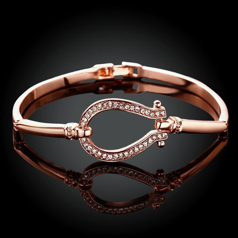 Jewelry - 18K Rose Gold Plated Horse Shoe Bracelet
