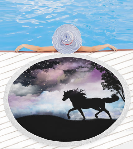 Night Horse Beach Blanket