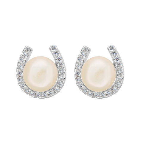 925 Sterling Silver Freshwater Pearl Horseshoe Earrings