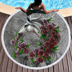 Unicorn Dreamcatcher by Sunima Mystery Art Beach Blanket