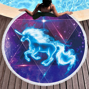 Blue Unicorn Round Beach Towel