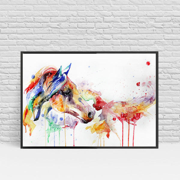 Abstract Watercolor Horse Canvas