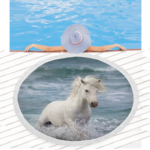 Horse in Water Beach Blanket