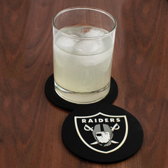 Oakland Raiders Drink Coasters with glass of Ice.