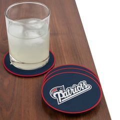 New England Patriots Coasters with drink glass.