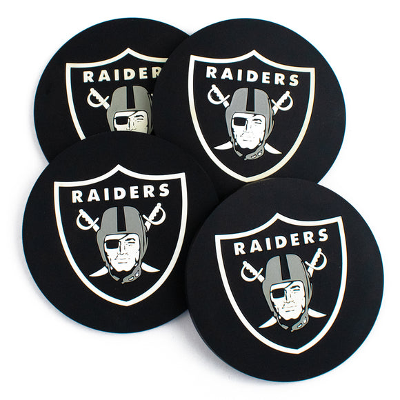 Oakland Raiders round drink coasters set of 4