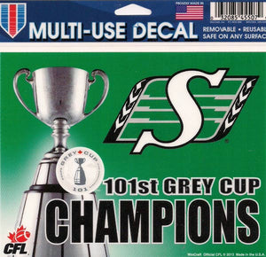 Saskatchewan Roughriders Grey Cup Champs 2013 Decal