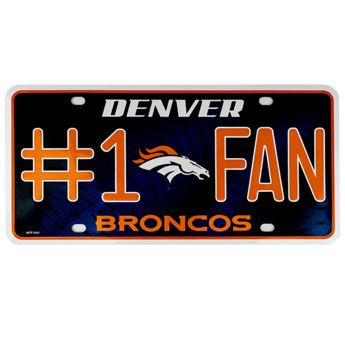 Denver Broncos Metal License Plate