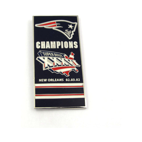 New England Patriots Super Bowl XXXVI Champs Banner Pin