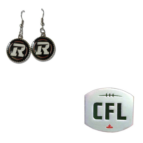 Ottawa Redblacks Earrings and CFL Logo Pin Bundle