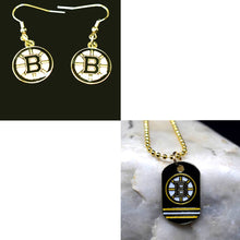 Load image into Gallery viewer, Boston Bruins Necklace and Earring Bundle