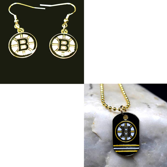 Boston Bruins Necklace and Earring Bundle