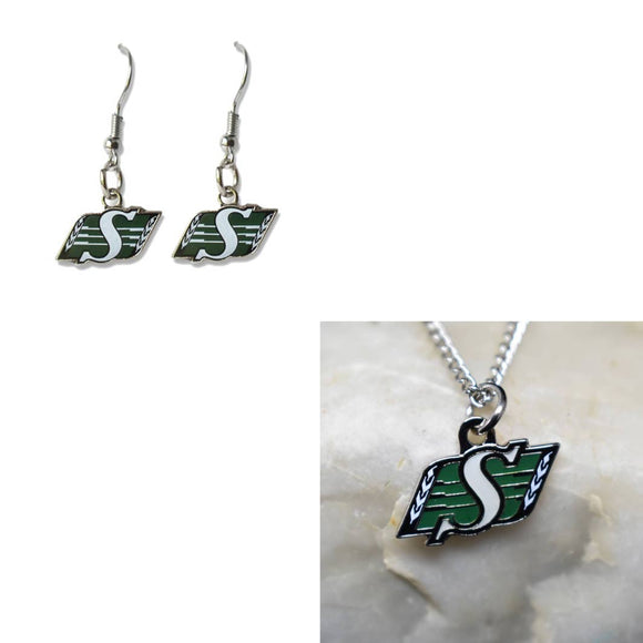 Saskatchewan Roughriders Necklace and Earring Bundle