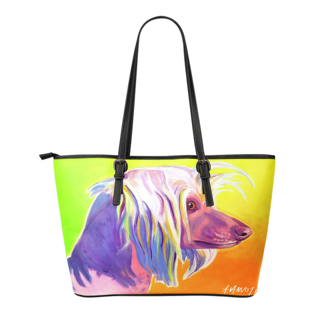Chinese Crested Leather Tote