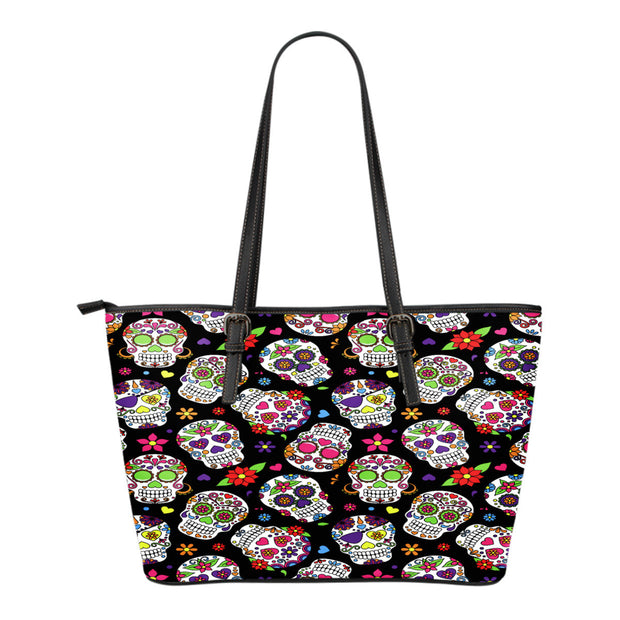 Calavera Pattern Leather Tote Bag