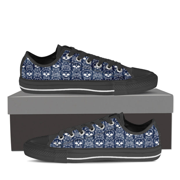Blue Skulls Women's Low Tops