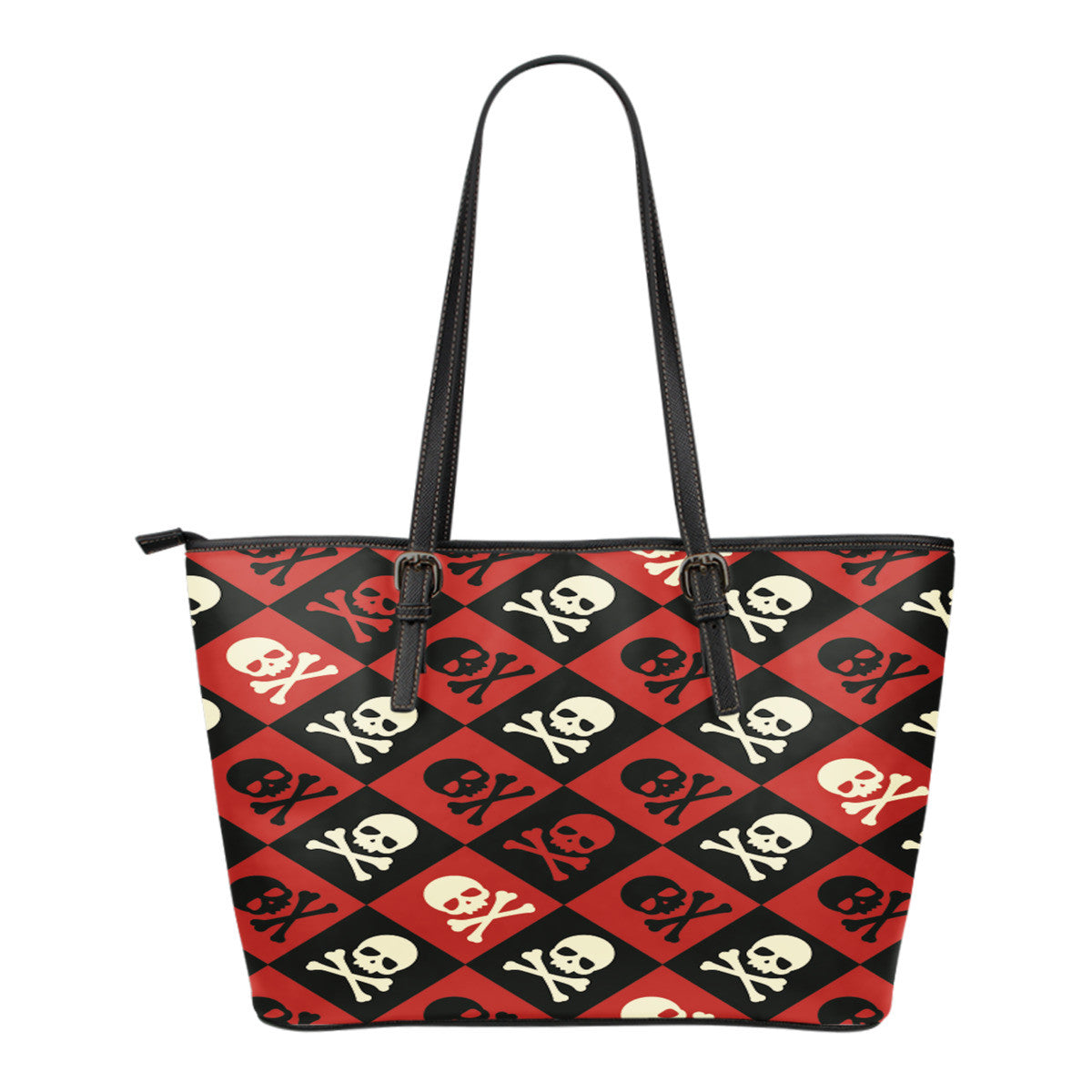 Crossbones Checkerboard Leather Tote Bag