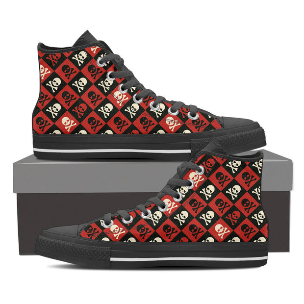 Skulls Checkerboard High Tops