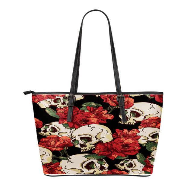Red Roses & Skulls Leather Tote Bag