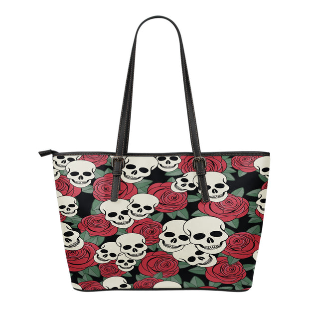 Skulls Garden Leather Tote Bag