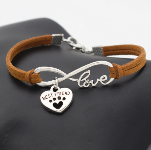 Leather Infinity Love Dog Bracelet