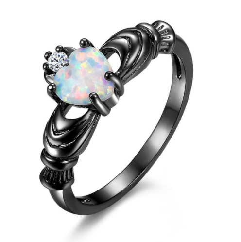 Black Opal Heart Ring