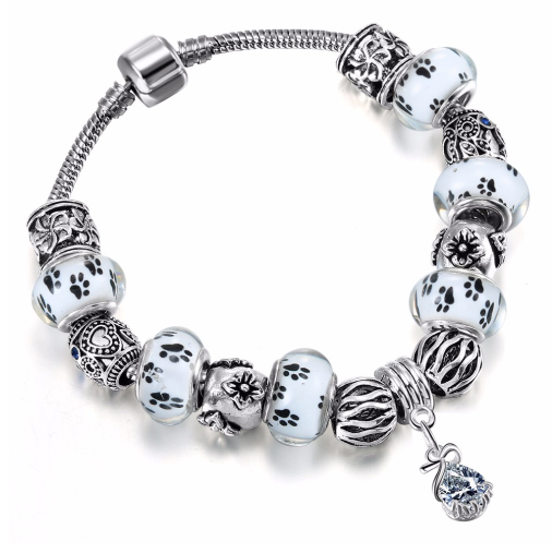 Dog Footprints Charm Crystal Bracelet Secret Giveaway
