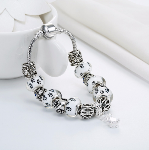 Dog Footprints Charm Crystal Bracelet