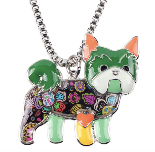 Yorkie Enamel Necklace