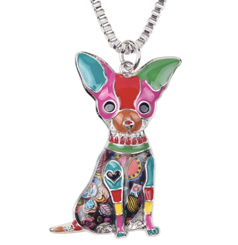 Chihuahua Enamel Necklace