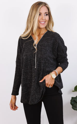 PAM ZIP UP SWEATER - BLACK