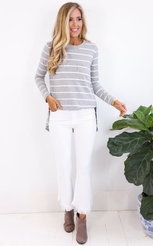 STRIPE SPLIT SIDE TOP - GREY AND WHITE