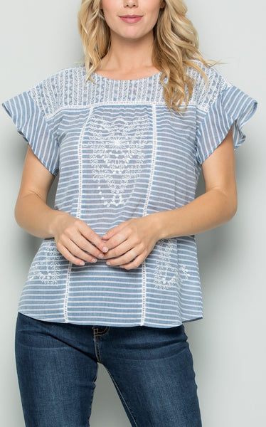 ANGELA EMBROIDERD TOP