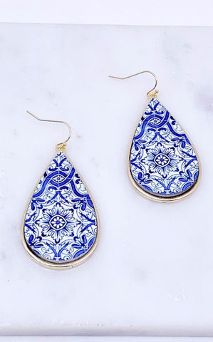 TILE TEARDROP EARRINGS